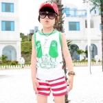 เสื้อกล้ามเด็ก สีขาวขอบเขียว สดใส ด้านหลังรูปดาวหลากสี สไตล์เกาหลี น่ารักสุดๆ