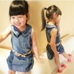 ชุดเดรสเด็กหญิง ผ้ายีนส์เนื้อนิ่ม คาดโบว์ที่เอว น่ารัก หวานๆสไตล์เกาหลี