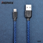สายชาร์จโทรศัพท์มือถือแบบเชือกถัก สไตล์เท่ห์ รุ่น Remax Nylon for Iphone6/PLUS/5s/5 สีฟ้า