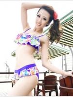 ชุดว่ายน้ำทูพีช เสื้อสายเดี่ยวปรับได้ บราระบายแต่งแต้มหลากสีสันสวยๆ
