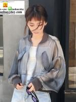 เสื้อคลุม แจ็คแก็ตกันแดด กันลมผ้าซีทรูซิปหน้า มี 2 สีคือ ขาวและเทาค่ะ