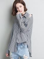 เสื้อเชิ้ตสไตล์เกาหลี แต่งดีเทลผ่าแขนเก๋มาก เนื้อผ้าดีสวมใส่สบาย งานนำเข้าแบรนด์แท้ของเมืองนอก คุณภาพดี