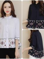 เสื้อสไตล์เกาหลี ผ่าหน้าติดกระดุม แต่งดีเทลปักแต่งไลน์เก๋ๆ เนื้อผ้าดีสวมใส่สะบาย งานนำเข้าแบรนด์แท้ของเมืองนอก คุณภาพดี