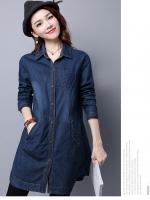 เสื้อเชิ้ตยีนส์ตัวยาวงานสไตล์เกาหลี มีกระเป๋า เนื้อผ้ายีนส์อย่างดีสวมใส่สะบาย งานนำเข้าแบรนด์แท้