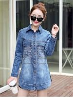 เสื้อคลุมยีนส์ตัวยาวสไตล์เกาหลีหรือใส่เป็นมินิเดรสก็เก๋ฝุดๆ งานนำเข้าแบรนด์แท้คุณภาพดี
