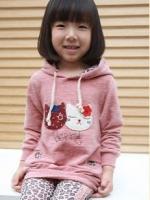 Huanshu kids เสื้อกันหนาวแฟชั่นเด็ก สีชมพู ตกแต่งด้วยแมวเหมียวBerry แบบเก๋มาก น่ารักสไตล์เกาหลี(เสื้อหนามาก)