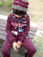 Huanshu kids ชุดเซ็ทเด็ก เสื้อแขนยาวคอกลม SUPER 23 JPN + กางเกงขายาว สไตล์เกาหลี