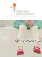 กางเกงเลคกกิ้งเด็กหญิง สีขาวปลายขาตกแต่งด้วยดอกไม้น่ารัก สไตล์เกาหลี ผ้าเนื้อนุ่ม ใส่สบาย