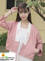 เสื้อคลุม แจ็คแก็ตกันแดด กันลม เสื้อกิโมโนญี่ปุ่นปักลายดอกไม้สีขาวชมพู