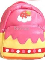 กระเป๋าเป้คุณหนู Linda มาใหม่ ลายขนมเค้ก สีชมพู สีสันสดใส น่ารัก ทำจากวัสดุ PVC คล้ายหนัง