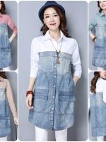เสื้อเชิ้ตตัวยาวสไตล์เกาหลี ตัดต่อผ้าฝ้าย+ผ้ายีนส์ เนื้อผ้าดีสวมใส่สะบาย งานนำเข้าแบรนด์แท้ของเมืองนอก คุณภาพดี