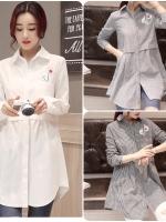 เสื้อเชิ้ตตัวยาวสไตล์เกาหลี ปักแต่งด้านหน้าเก๋ๆ เนื้อผ้าดีสวมใส่สะบาย งานนำเข้าแบรนด์แท้ของเมืองนอกคุณภาพดี