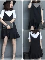 ชุดเดรสสไตล์เกาหลี แถมเสื้อตัวใน เนื้อผ้าดีสวมใส่สะบาย งานนำเข้าแบรนด์แท้คุณภาพดี