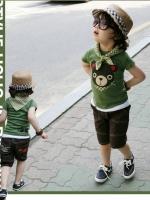 cisi ชุดเซ็ตเด็กชาย 3 ชิ้น สีเขียว ด้านหน้าสกรีนลายหมีน้อย กางเกงสีน้ำตาล มาพร้อมผ้าพันคอลายสก็อต น่ารัก สไตล์เกาหลี