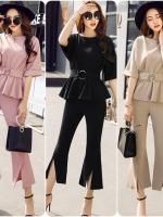 ชุดเซ็ทเสื้อ+กางเกง งานสไตล์เกาหลี แต่งดีเทลที่เอวเก๋ๆ เนื้อผ้าดีสวมใส่สะบาย งานนำเข้าแบรนด์แท้ของเมืองนอก คุณภาพดี