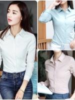 เสื้อเชิ้ตสไตล์เกาหลี แต่งดีเทลปักลายที่ปกเก๋ๆ เนื้อผ้าดีสวมใส่สะบาย งานนำเข้าแบรนด์แท้ของเมืองนอก คุณภาพดี
