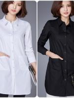 เสื้อเชิ้ตตัวยาวสไตล์เกาหลี แต่งกระเป๋าด้านหน้า เนื้อผ้าดีสวมใส่สะบาย งานนำเข้าแท้คุณภาพดี