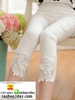 กางเกงลำลองผ้ายีดขาวยาว5ส่วนแต่งลูกไม้ มี 2 สีคือ ขาวและดำค่ะ