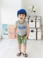 ชุดเสื้อแขนกุดลายตารางสีเขียว-ขาว พิมพ์ลาย Hello และกางเกง สีเขียว พิมพ์ 1973 เก๋ เทห์ น่ารักสไตล์เกาหลี