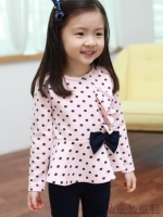 ชุดเซตเด็กหญิง 2 ชิ้น เสื้อสีชมพูลายจุด+กางเกง ผ้าเนื้อดีน่ารักสไตล์เกาหลี ( สีชมพู ) สำเนา