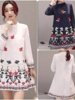 เสื้อตัวยาวสไตล์เกาหลี หรือใส่เป็นมินิเดรสก็เก๋ แต่งดีเทลปักแต่งเก๋ๆ เนื้อผ้าดีสวมใส่สบาย งานนำเข้าแบรนด์แท้ของเมืองนอก คุณภาพดี