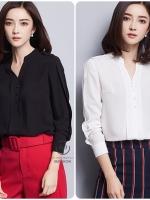 เสื้อสไตล์เกาหลี แต่งดีเทลกลางแขนเก๋ๆ เนื้อผ้าดีสวมใส่สะบาย งานนำเข้าแท้คุณภาพดี