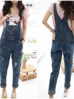 เอี้ยมกางเกงยีนส์ขายาวแต่งเซอๆ งานสไตล์เกาหลี เนื้อผ้าดีสวมใส่สะบาย