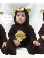 ชุดหมีแฟนซี ผ้าสำลีขูดขน ลายลิง น่ารัก เนื้อนุ่มใส่สบาย