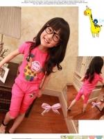 ชุดเซตเด็กหญิง 2 ชิ้น เสื้อ+กางเกงสีชมพู สกีนลายยีราฟ BOO YA ผ้าเนื้อดี น่ารักสไตล์เกาหลี