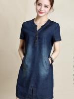 เดรสยีนส์สไตล์เกาหลี เนื้อผ้าดีสวมใส่สะบาย งานนำเข้าแบรนด์แท้คุณภาพดี