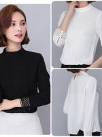 เสื้อสไตล์เกาหลี แต่งดีเทลปลายแขนและกลางหน้าเก๋ๆ เนื้อผ้าดีสวมใส่สะบาย งานนำเข้าแท้คุณภาพดี