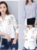เสื้อเชิ้ตสไตล์เกาหลี แต่งดีเทลปักลายเก๋ๆ เนื้อผ้าดีสวมใส่สะบาย งานนำเข้าแบรนด์แท้ของเมืองนอกคุณภาพดี