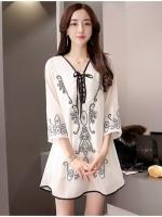 เสื้อตัวยาวสไตล์เกาหลี แต่งดีเทลปักลายเก๋ๆ เนื้อผ้าดีสวมใส่สะบาย งานนำเข้าแบรนด์แท้ของเมืองนอกคุณภาพดี
