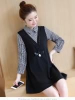 ชุดเดรสสไตล์เกาหลี ตัดต่อผ้าลายเก๋ๆ แถมสร้อยคอ เนื้อผ้าดีสวมใส่สะบาย งานนำเข้าแท้คุณภาพดี