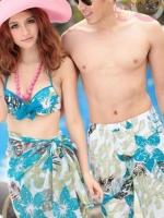 ชุดว่ายน้ำบิกินี่ทูพีช ลายใบไม้ โทนสีฟ้าอมเขียว ขายพร้อมผ้าคลุมซีทรูผืนใหญ่สุดสวย