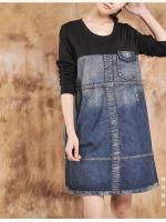มินิเดรสยีนส์+ผ้ายืดช่วงบน งานนำเข้าสไตล์เกาหลี เนื้อผ้าดีสวมใส่สะบาย