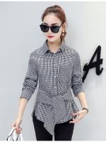 เสื้อเชิ้ตสไตล์เกาหลี แต่งดีเทลโบว์ช่วงเองเก๋ๆ เนื้อผ้าดีสวมใส่สะบาย งานนำเข้าแท้คุณภาพดี