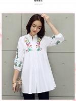 เสื้อสไตล์เกาหลีผ่าหน้าติดกระดุม ปักแต่งเก๋ๆ เนื้อผ้าดีสวมใส่สะบาย งานนำเข้าแบรนด์แท้จากเมืองนอกคุณภาพดี