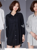 เสื้อเชิ้ตตัวยาวสไตล์เกาหลี แต่งดีเทลรูปผีเสื้อเก๋ๆ เนื้อผ้าดีใส่สะบาย แมชง่าย งานนำเข้าแท้คุณภาพดี