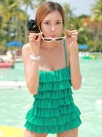 (พร้อมส่ง) ชุดว่ายน้ำวันพีช สายเสื้อเดี่ยว แต่งระบายด้านหน้า หลังเว้าลึก น่ารักสไตล์เกาหลี