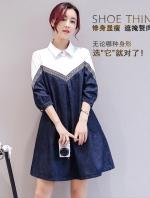 ชุดเดรสยีนส์สไตล์เกาหลี ช่วงบนตัดต่อผ้าฝ้ายแต่งดีเทลเดินเส้นแต่งเก๋ๆ มีกระเป๋าข้าง เนื้อผ้าดีสวมใส่สะบาย งานนำเข้าแบรนด์แท้ของเมืองนอกคุณภาพดี