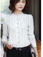 เสื้อสไตล์เกาหลี ผ่าหน้าติดกระดุม แต่งดีเทลระบายด้านหน้าเก๋ๆ เนื้อผ้าดีสวมใส่สะบาย งานนำเข้าแท้คุณภาพดี
