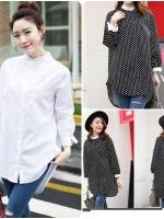 เสื้อตัวยาวสไตล์เกาหลี ผ่าหน้าติดกระดุม แต่งดีเทลโบว์ปลายแขนและด้านหลัง ปลายแขนพองเล็กน้อย เนื้อผ้าดีสวมใส่สะบาย งานนำเข้าแบรนด์แท้คุณภาพดี(ภาพถ่ายจากสินค้าจริง)