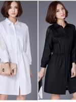 เสื้อเชิ้ตตัวยาวสไตล์เกาหลี แต่งดีเทลผ้าลูกไม้ซีทรูช่วงแขนและด้านหลังช่วงบนเก๋ๆ งานนำเข้าแท้คุณภาพดี
