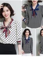 เสื้อสไตล์เกาหลี แต่งดีเทลผ้าพูกคอเก๋ๆ เนื้อผ้าดีสวมใส่สะบาย งานนำเข้าแบรนด์แท้ของเมืองนอกคุณภาพดี