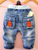 กางเกงยีนส์ฟอก ขาสามส่วน เอวยางยืดมาใหม่สไตล์เกาหลี