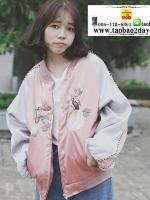 เสื้อคลุม แจ็คแก็ตกันแดด กันลม สไตล์ฮาราจูกุ มี 2 สีคือ ดำและชมพูค่ะ