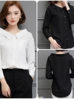 เสื้อสไตล์เกาหลีผ่าหน้าติดกระดุม คอเสื้อกว้างแต่งปกเก๋ๆ เนื้อผ้าดีสวมใส่สะบาย งานนำเข้าแบรนด์แท้คุณภาพดี
