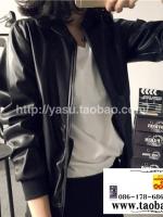 เสื้อคลุม แจ็คแก็ตหนัง PU ซิปหน้าสีดำ