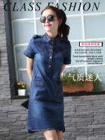 เดรสยีนส์สไตล์เกาหลี ปกตั้งเจาะสาปโปโล เนื้อผ้ายีนส์อย่างดีสวมใส่สะบาย งานนำเข้าแบรนด์แท้คุณภาพดี